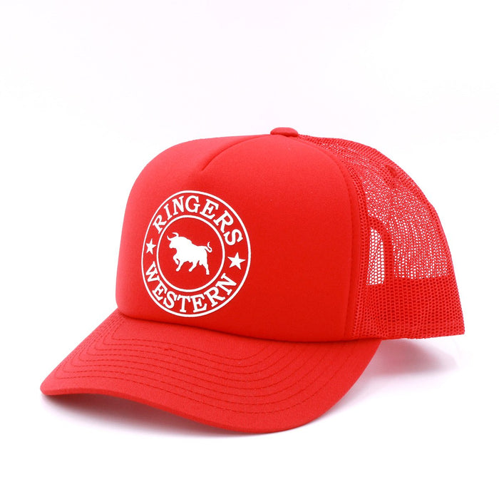 Red Foam Trucker With White Print