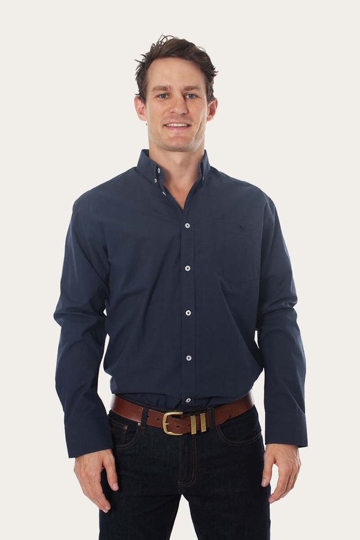 Territory Mens Wales Check Dress Shirt Navy/Steele