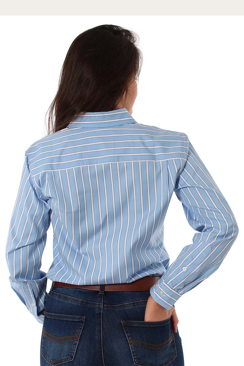 Simpson Womens Single Pocket Relaxed Fit Shirt Blue Stripe