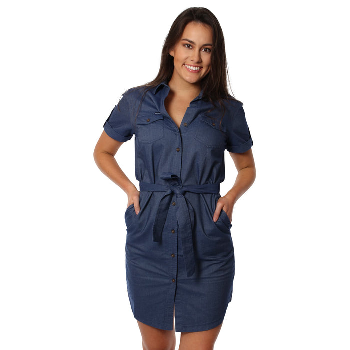 Mina Womens Shirt Dress Denim - Denim Chambray
