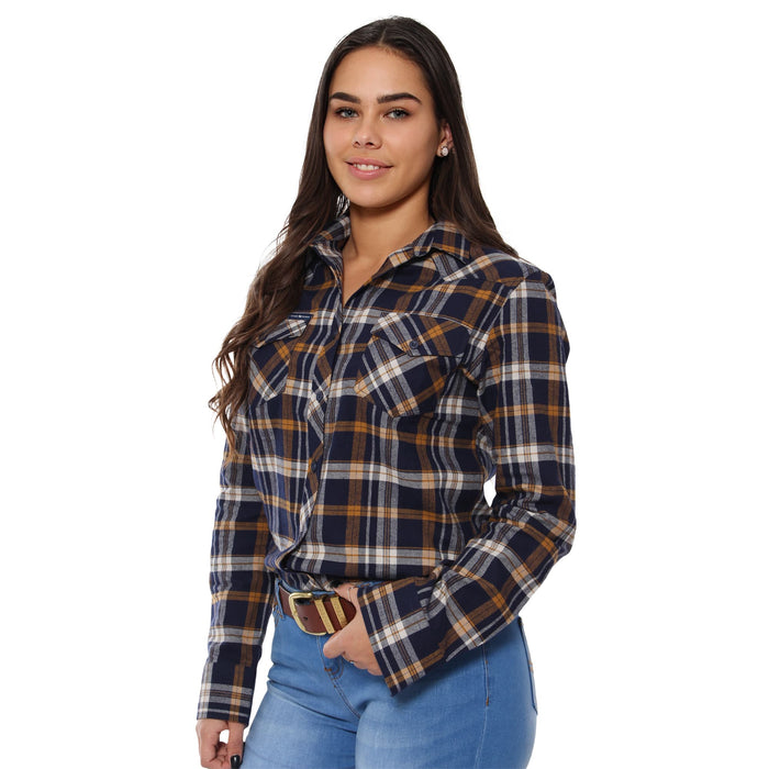 Junee Womens Flanno Semi Fitted Shirt - Mustard & Navy Check