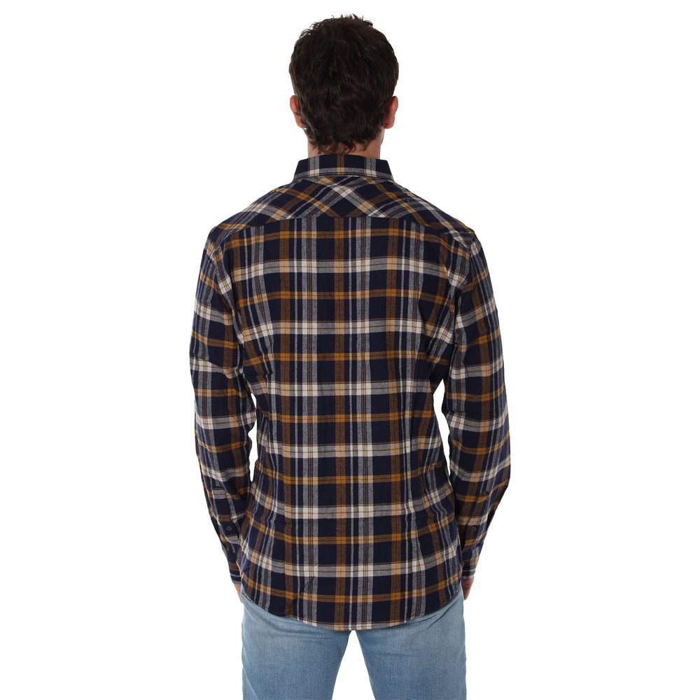 Cooma Mens Flanno Semi Fitted Shirt - Mustard & Navy Check