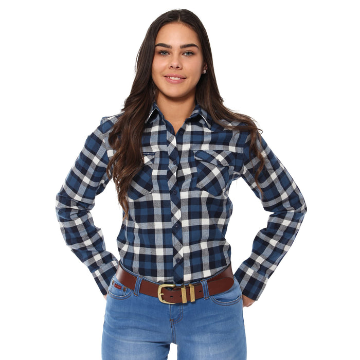 Junee Womens Flanno Semi Fitted Shirt - Steel & Navy Check