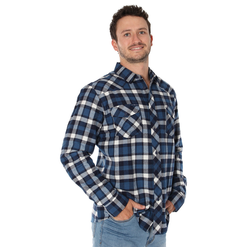 Cooma Mens Flanno Semi Fitted Shirt - Steel & Navy Check