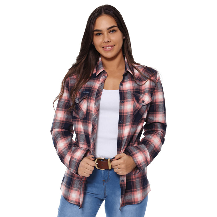 Junee Womens Flanno Semi Fitted Shirt - Melon & Navy Check