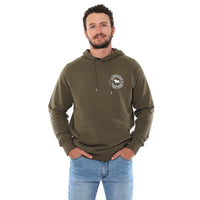 Signature Bull Mens Pullover Hoodie - Army with Light Grey Print