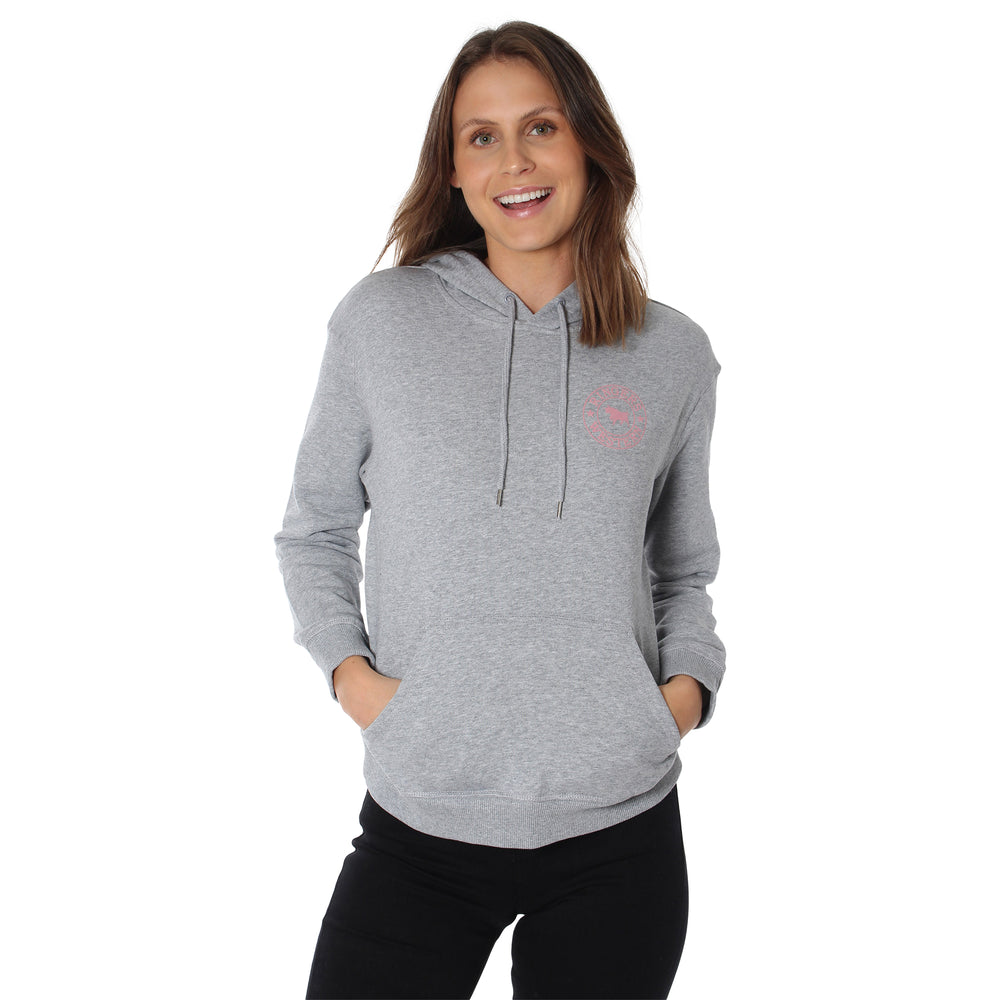 Signature Bull Womens Pullover Hoodie - Grey Marle with Dusty Rose Print