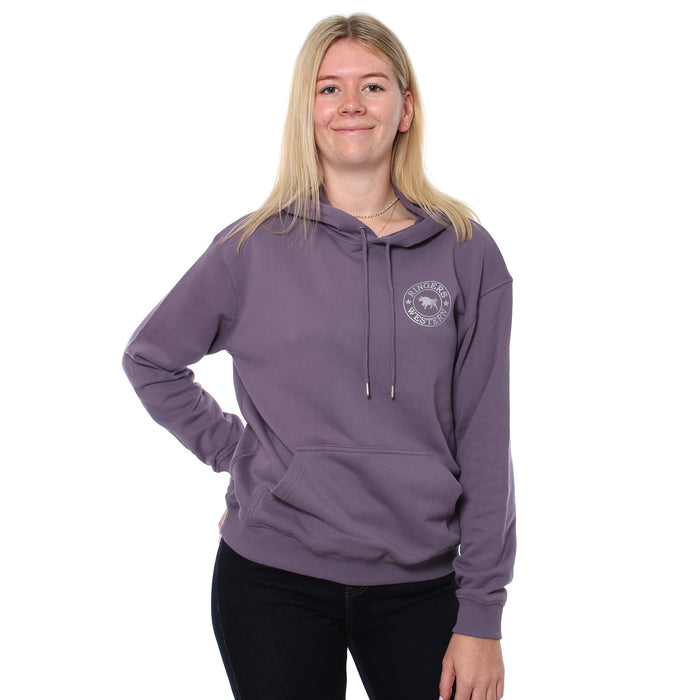 Signature Bull Womens Pullover Hoodie - Mauve with Silver Print