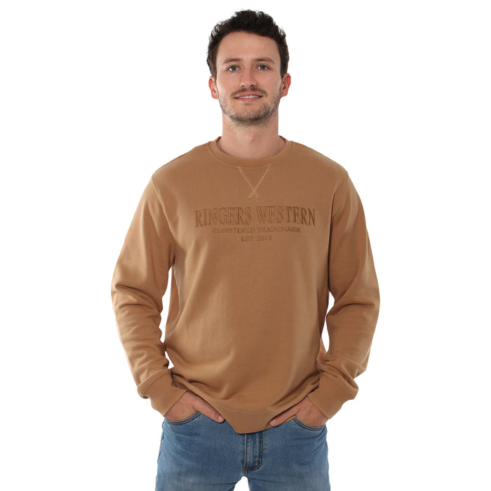 Dunsborough Mens Crew Neck Pullover - Clay