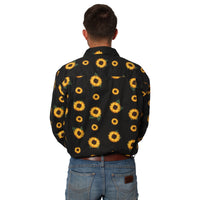 Limited Edition Mens Half Button Work Shirt - Sunflower Print on Coal