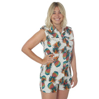 Pineapple Womens Sleeveless Casual Shirt