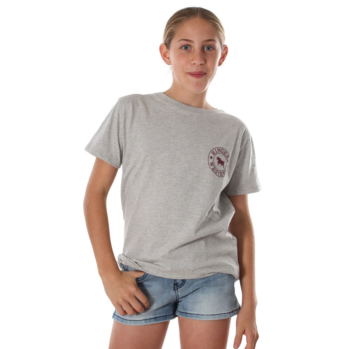 Signature Bull Kids Classic T-Shirt Grey Marle Burgundy