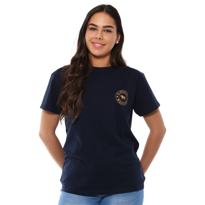 Signature Bull Womens Loose T-Shirt - Navy Rose