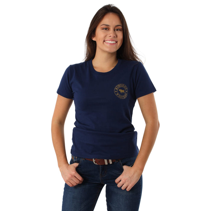 Signature Bull Womens Classic T-Shirt Navy Gold