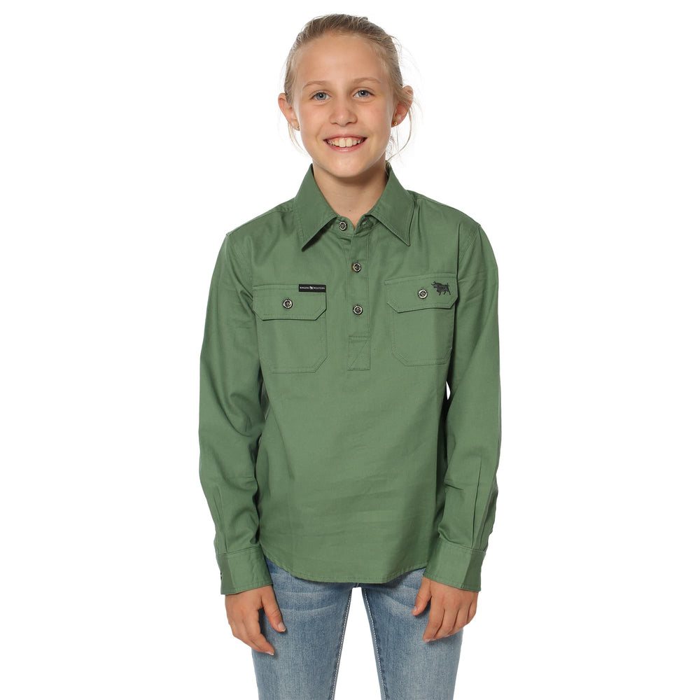 Ord River Kids Half Button Work Shirt - Cactus Green