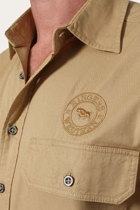 Hawkeye Mens Full Button Work Shirt - Caramel with Caramel Embroidery