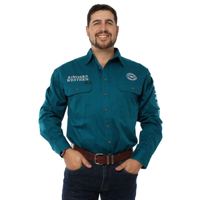 Hawkeye Mens Full Button Work Shirt - Teal with White Embroidery