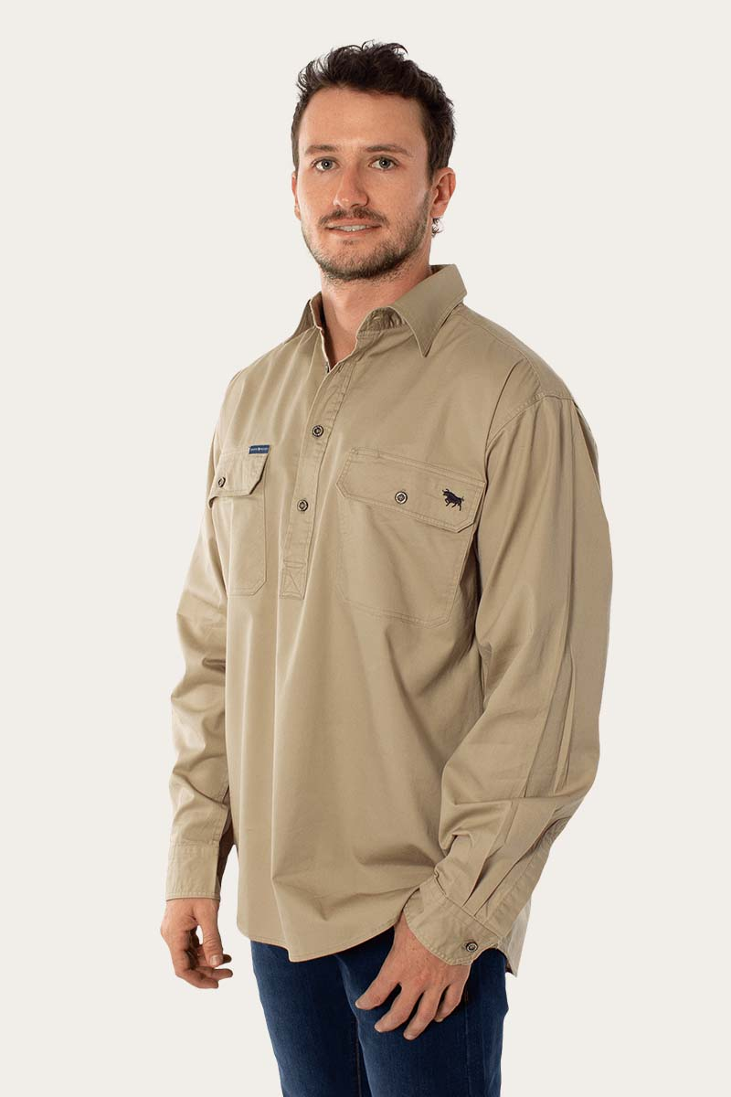 King River Mens Half Button Work Shirt - Camel