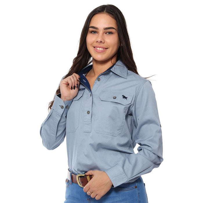 Boss Lady Womens Half Button Work Shirt - Light Steel