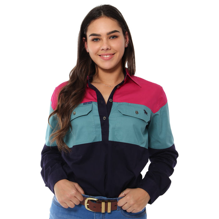 Rocky Womens Spliced Work Shirt - Magenta / Dusty Jade / Dark Navy
