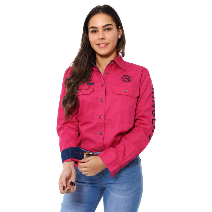 Signature Jillaroo Womens Full Button Work Shirt - Magenta with Navy Embroidery