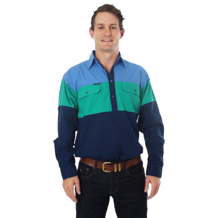 Rocky Mens Spliced Work Shirt Blue/Green/Navy