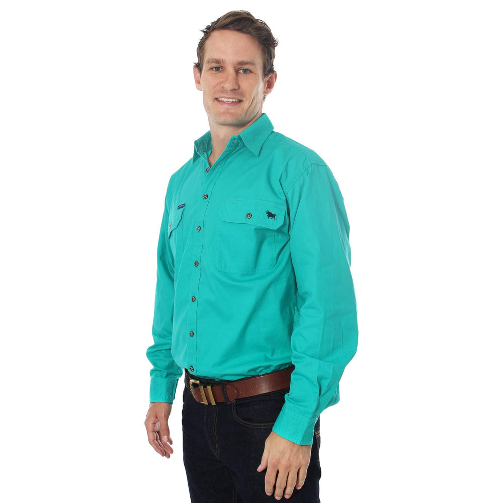 King River Full Button Work Shirt Deep Mint