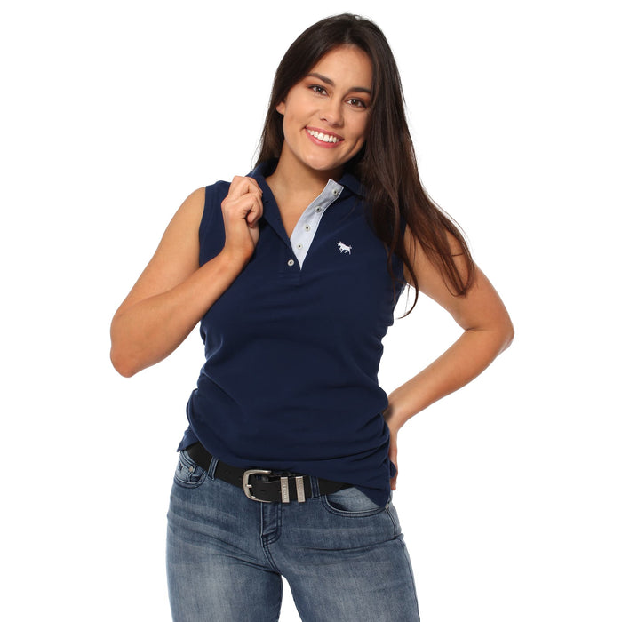 Classic Womens Sleeveless Polo Shirt Navy