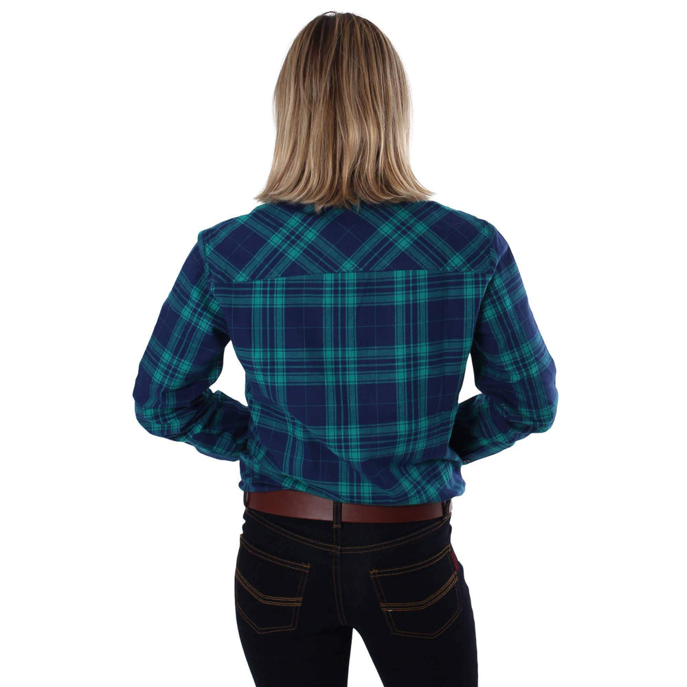 Junee Womens Flanno Semi Fitted Shirt Green Navy Check