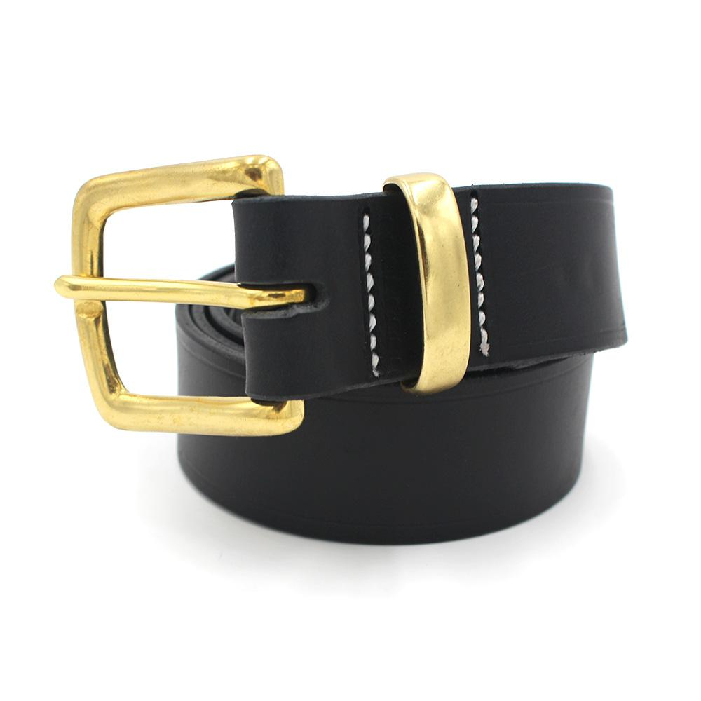 Saddler Leather Dress Belt 1 1/2 Black with Brass Buckle
