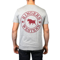 Mens Signature Bull T-Shirt in Grey/Burgundy