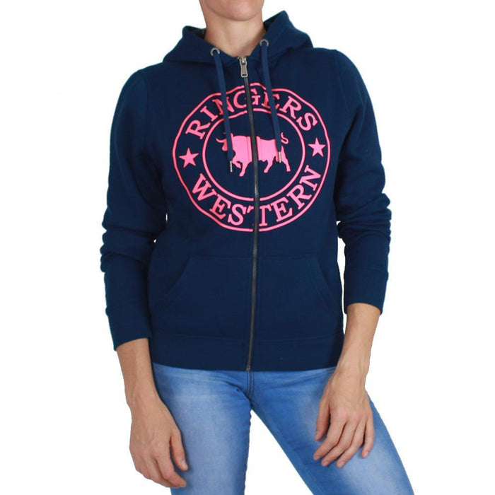Cowra Womens Full Zip Hoodie w Kangaroo Pocket Navy