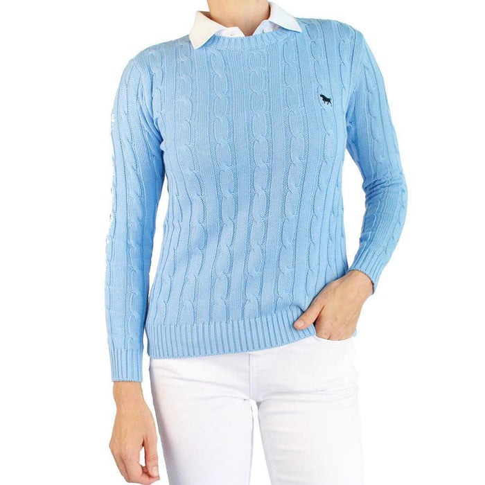 Nimberline Womens Cable Knit Sweater Azure