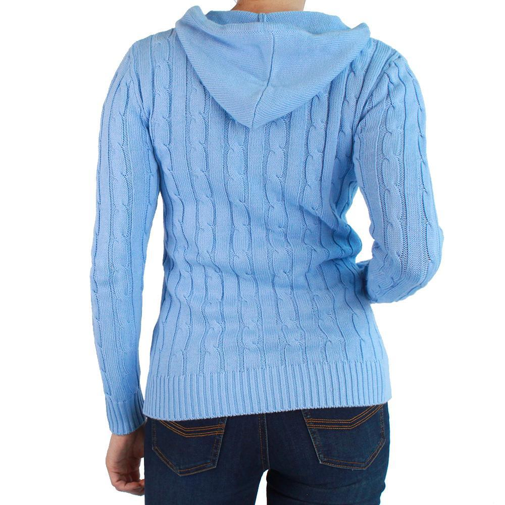 Nimberline Womens Hood Cable Knit Sweater Azure