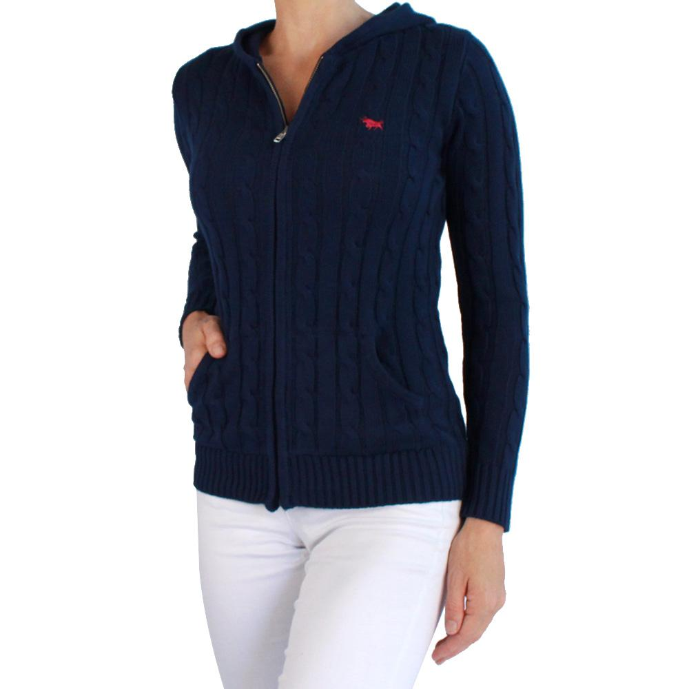 Nimberline Womens Hood Cable Knit Sweater Navy