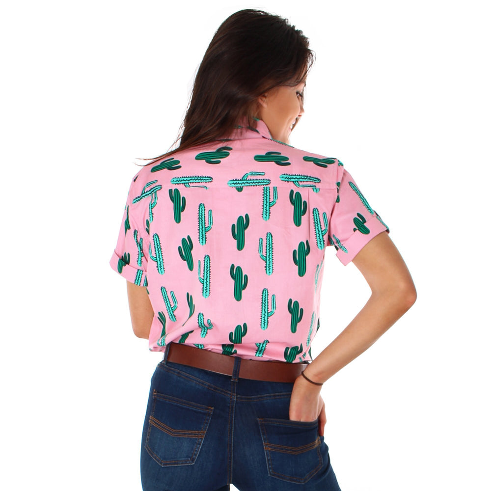 Cactus Womens Full Button Loose Fit Short Sleeve Workshirt