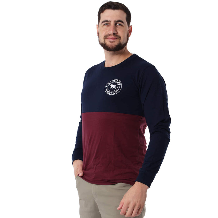 Roma Mens Long Sleeve Splice T-Shirt Navy Burgundy