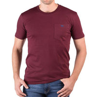Burgundy Crew Neck Tee Pocket