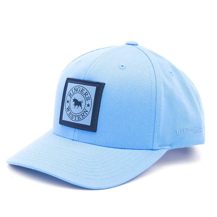 Blue Cotton Twill Baseball Cap with navy & Blue 3D Embroidery Label