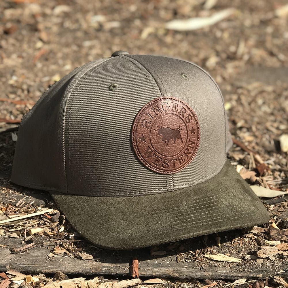 Khaki Signature Bull Baseball Cap with Leather Suede Patch