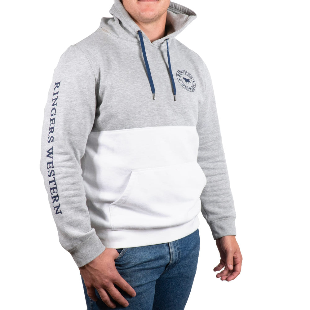 Hahndorf Mens Pull Over Hoodie Grey Marle / White