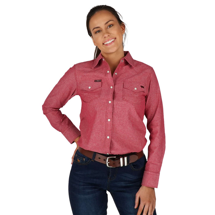 Tamworth Womens Slim Fit Western Shirt Red Chambray