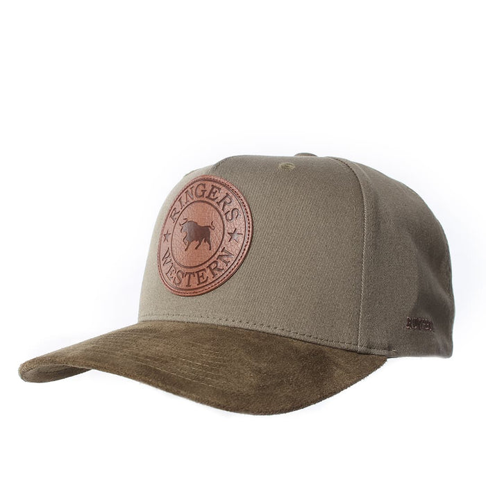 Signature Bull Baseball Cap Khaki with Leather Suede Patch