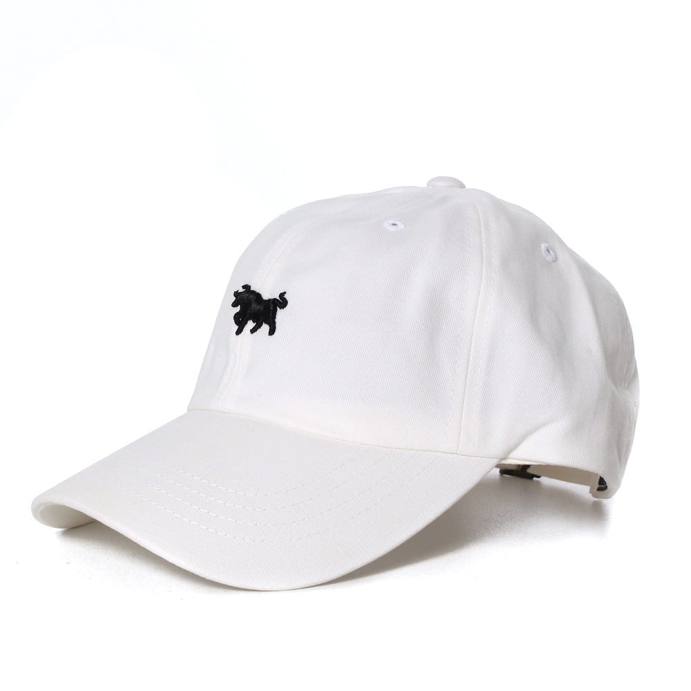 White Dad Hat with Black Embroidery