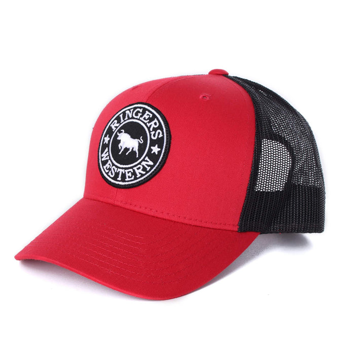 Signature Bull Trucker Red with Black & White Patch