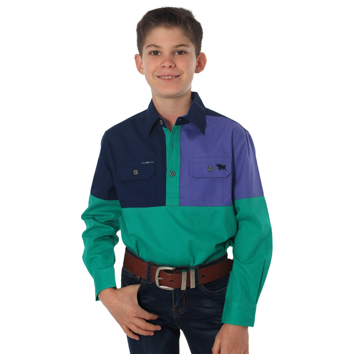 Dakota Kids Spliced Work Shirt Navy/Purple/Green