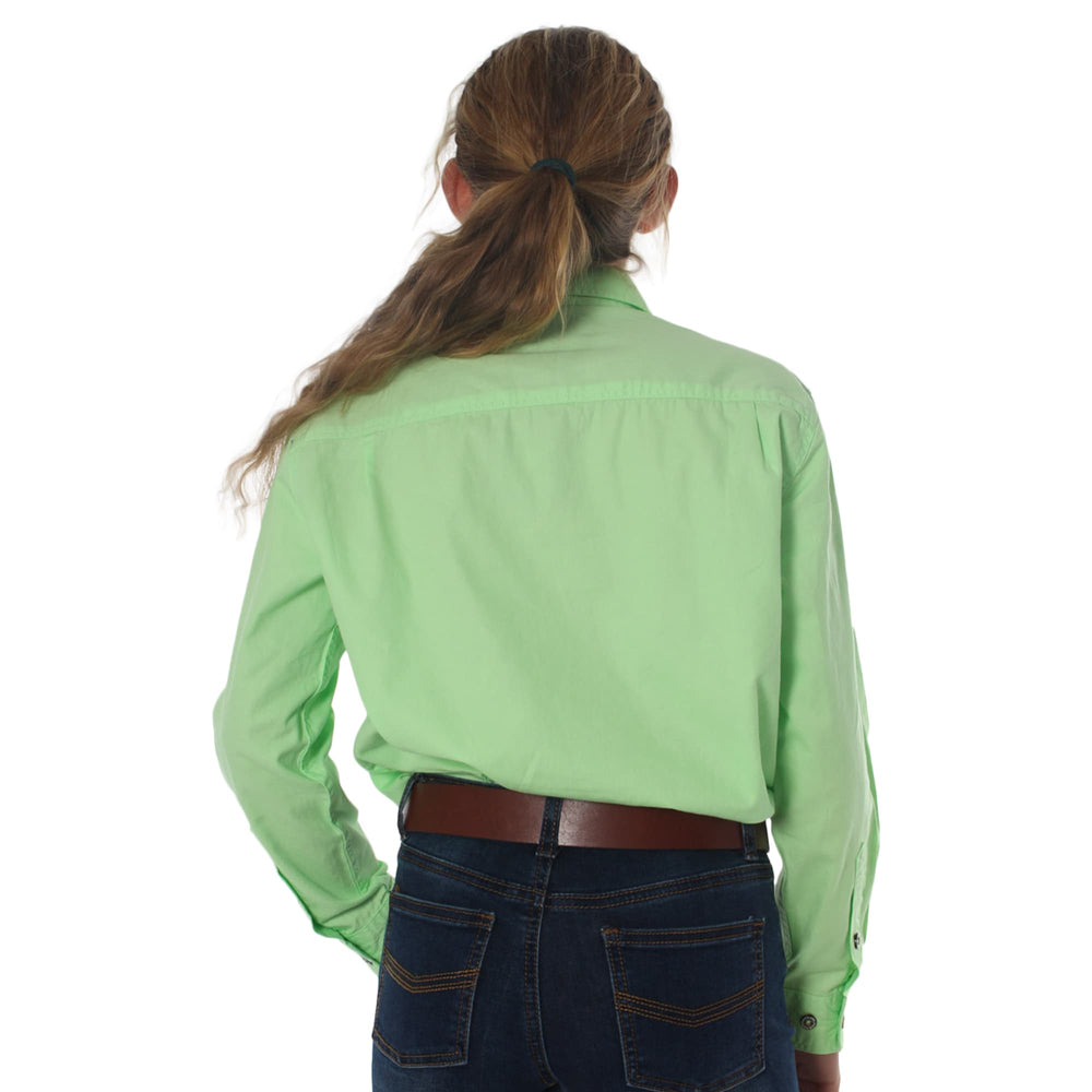 Ord River Half Button Kids Work Shirt Pistachio