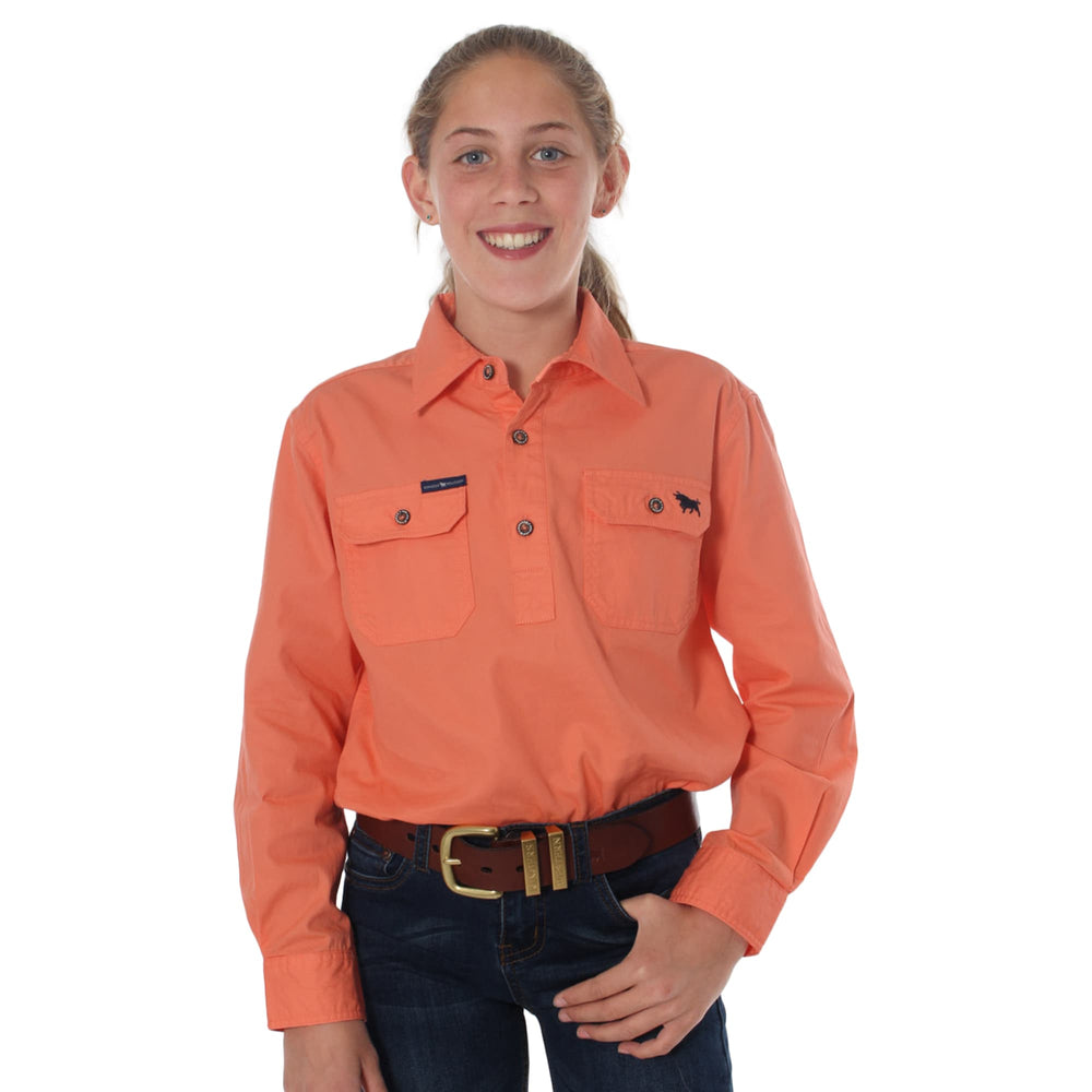 Ord River Half Button Kids Work Shirt Tangerine