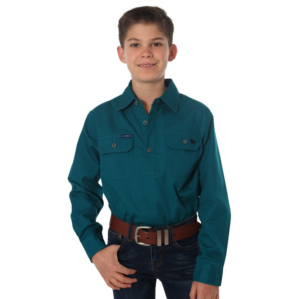 Ord River Half Button Kids Work Shirt Teal