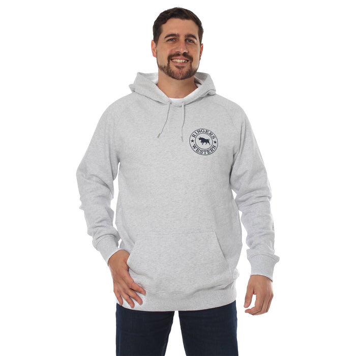 Signature Bull Mens Pullover Hoodie White Marle & Midnight